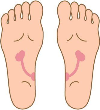 土踏まずの内側のあたりを押すと痛い場合は、膀胱に不調がある可能性. 足つぼ,